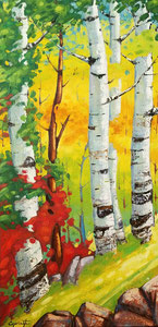 "'Birch Trees in Charlevoix ""Birch""' by Caouette Raymond"