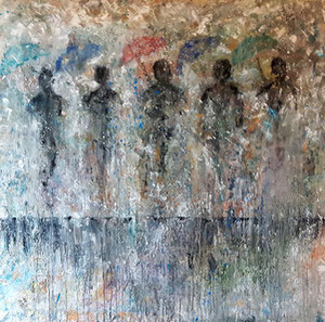 "'Standing in the rain ""People""' by Marshall"