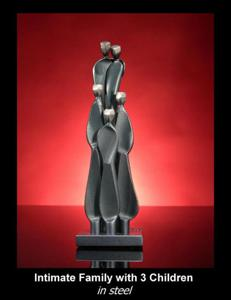 'Intimate Family with 3 Children' by Kramer Sculpture