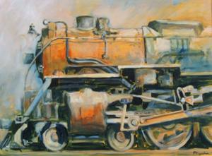 "'Power in Orange and Blue ""Train""' by Cunningham Peter"