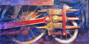 "'Red Rods and Crossroads ""Train""' by Cunningham Peter"