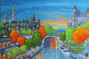 "'Sunday on the canal ""Ottawa""' by Caouette Raymond"