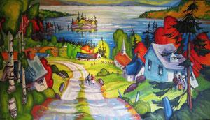 """'La Journee de Oncle Paul """"Landscape""""' by Caouette Raymond"""